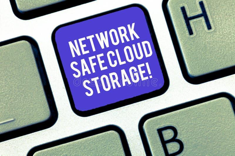 Het schrijven nota die Netwerk Veilige Wolkenopslag tonen Bedrijfsfoto demonstratieveiligheid op nieuwe online opslagruimtetechno stock foto
