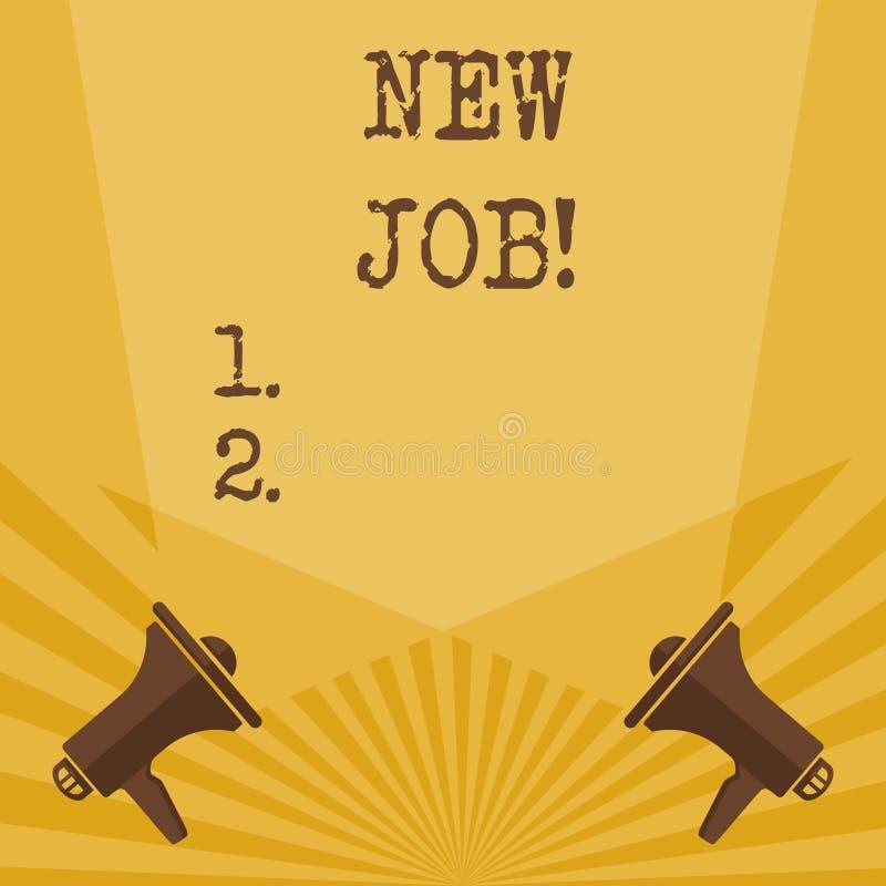 Het schrijven nota die Nieuwe Baan tonen Bedrijfsfoto die positie van reguliere arbeidspatie onlangs betaald te hebben demonstree vector illustratie
