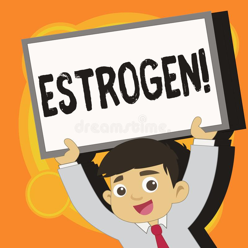 Het schrijven nota die Oestrogeen tonen De bedrijfsfoto demonstrerende Groep hormonen bevordert de ontwikkeling van kenmerken stock illustratie