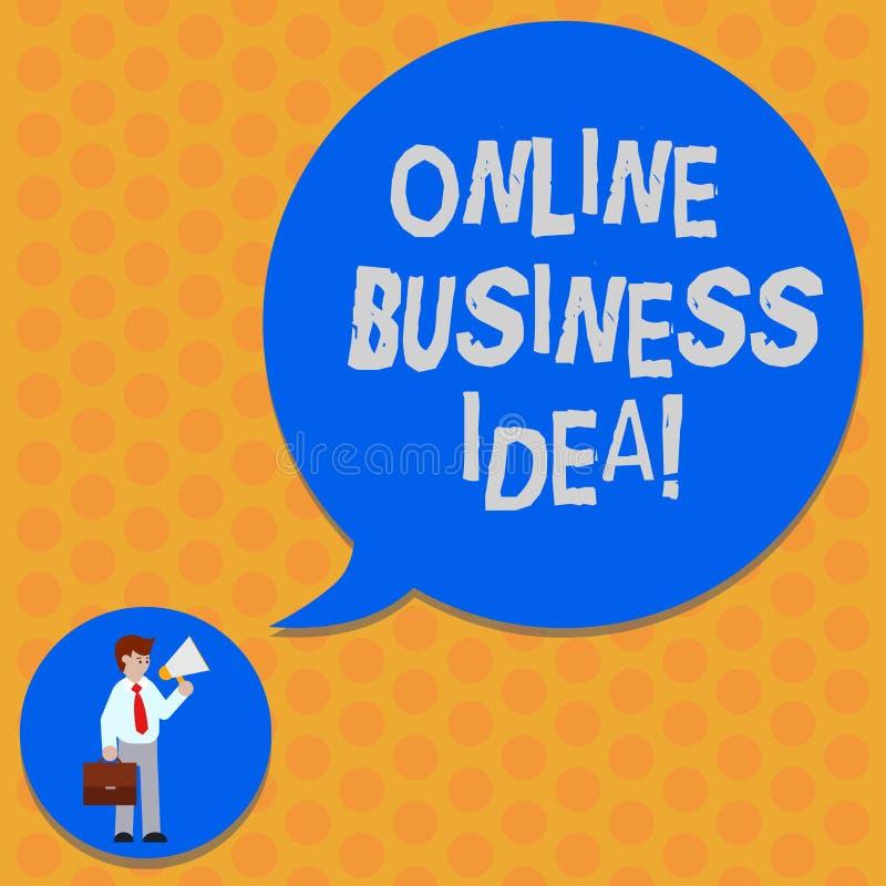 Het schrijven nota die Online Bedrijfsidee tonen Bedrijfsfoto die Online concept demonstreren dat voor de financieel gewinmens ka royalty-vrije illustratie