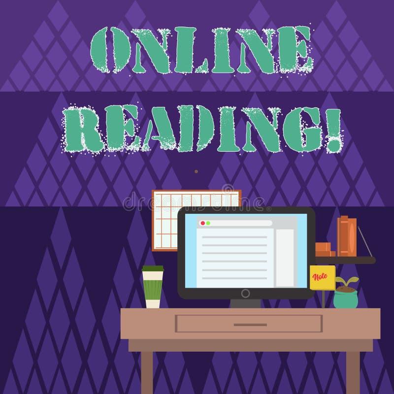 Het schrijven nota die Online Lezing tonen Het bedrijfsfoto demonstratieproces om betekenis te halen is in een digitaal formaat royalty-vrije illustratie
