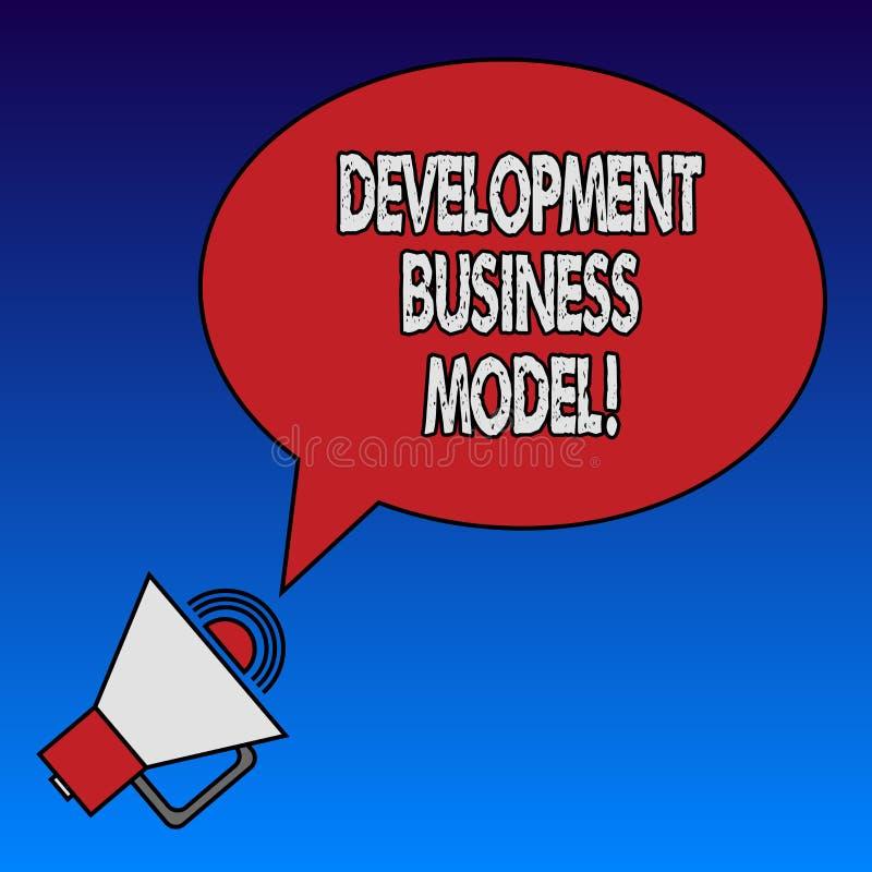 Het schrijven nota die Ontwikkelings Bedrijfsmodel tonen Bedrijfsfoto demonstratiereden van hoe een organisatie Geschetst Ovaal c royalty-vrije illustratie
