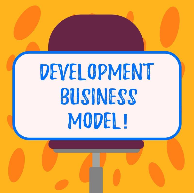 Het schrijven nota die Ontwikkelings Bedrijfsmodel tonen Bedrijfsfoto demonstratiereden van hoe een organisatie Spatie creeerde stock illustratie