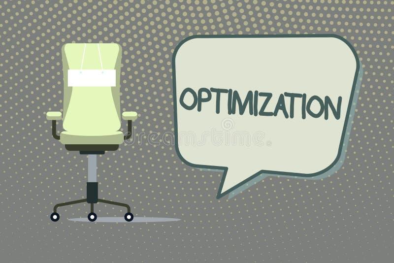 Het schrijven nota die Optimalisering tonen Bedrijfsfoto die Makend het beste of meest efficiënte gebruik van een situatie demons vector illustratie