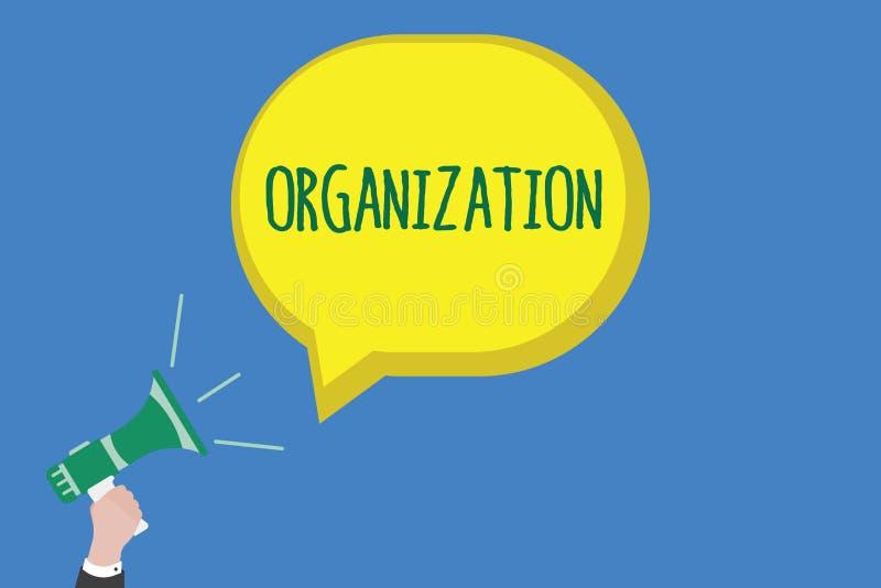 Het schrijven nota die Organisatie tonen Bedrijfsfoto die Georganiseerde groep het tonen met een bepaald doel demonstreren stock illustratie