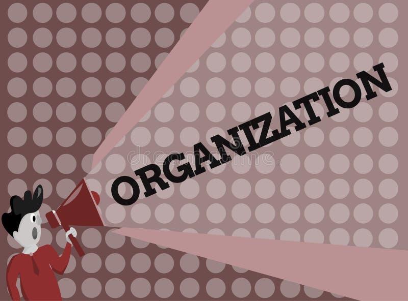 Het schrijven nota die Organisatie tonen Bedrijfsfoto die Georganiseerde groep het tonen met een bepaald doel demonstreren vector illustratie