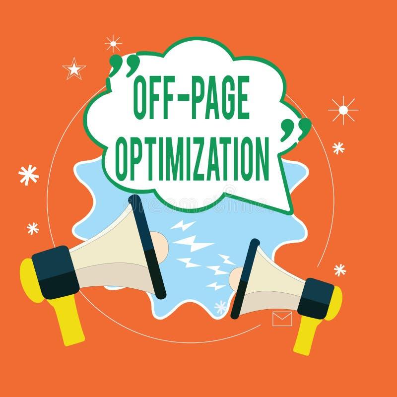 Het schrijven nota die Pagina met Optimalisering pronken Externe het Proces Promotiemethode van de bedrijfsfoto demonstratiewebsi stock illustratie
