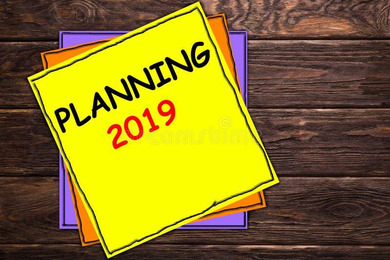 Het schrijven nota die PLANNEND 2019 'tonen royalty-vrije illustratie