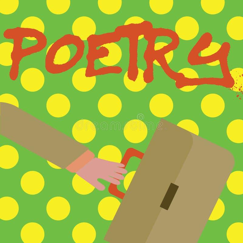 Het schrijven nota die Poëzie tonen Bedrijfsfoto die het Literaire werkuitdrukking van gevoelsideeën demonstreren met ritmegedich royalty-vrije illustratie