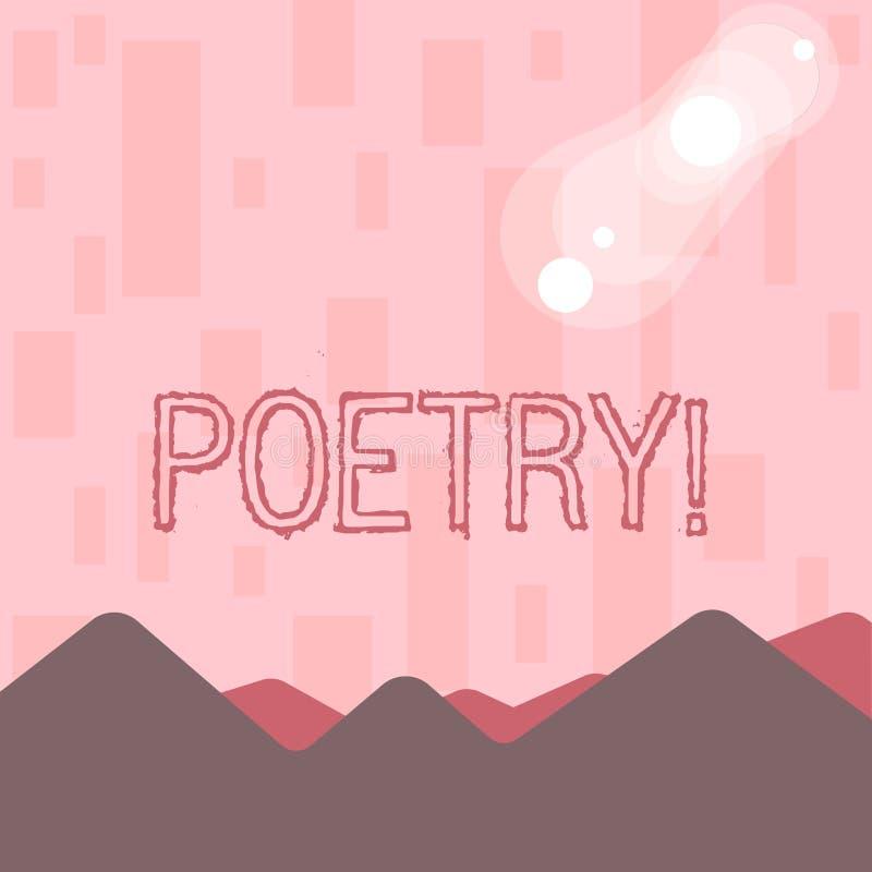 Het schrijven nota die Poëzie tonen Bedrijfsfoto die het Literaire werkuitdrukking van gevoelsideeën demonstreren met ritmegedich vector illustratie