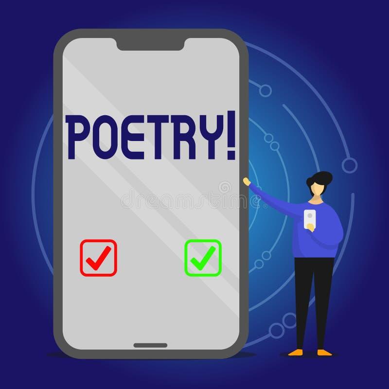 Het schrijven nota die Poëzie tonen Bedrijfsfoto die het Literaire werkuitdrukking van gevoelsideeën demonstreren met ritmegedich stock illustratie