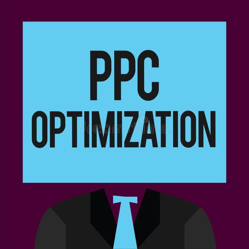 Het schrijven nota die Ppc Optimalisering tonen Bedrijfsfoto demonstratieverhoging van zoekmachineplatform voor loon per klik stock illustratie