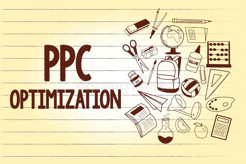 Het schrijven nota die Ppc Optimalisering tonen Bedrijfsfoto demonstratieverhoging van zoekmachineplatform voor loon per klik vector illustratie