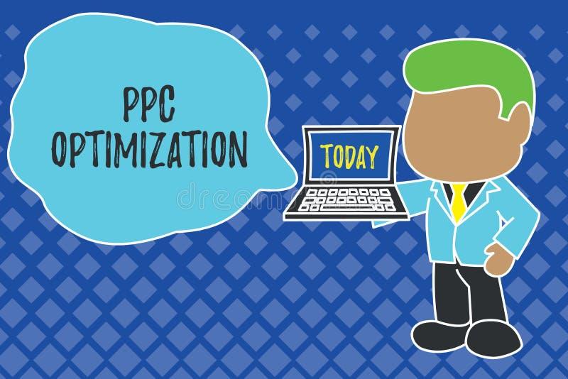 Het schrijven nota die Ppc Optimalisering tonen Bedrijfsfoto demonstratieverhoging van zoekmachineplatform voor loon per klik royalty-vrije illustratie