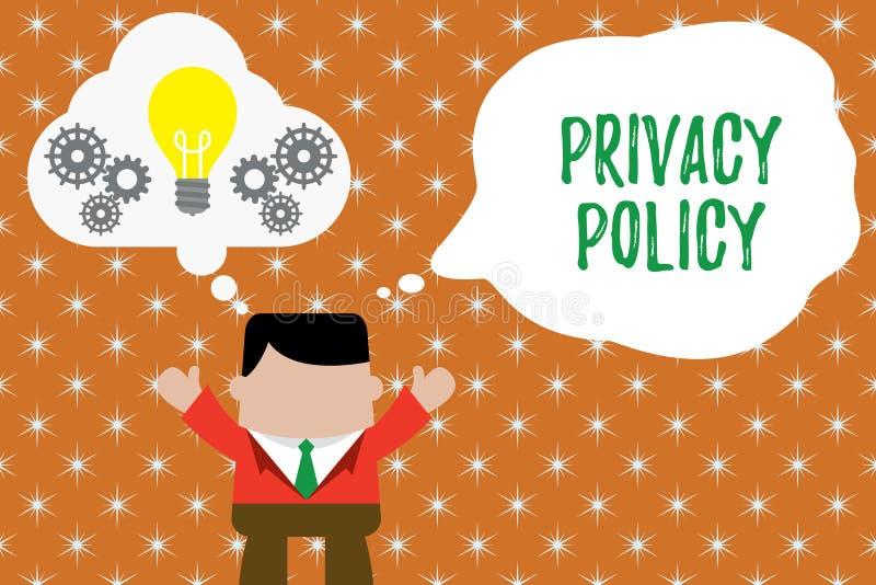 Het schrijven nota die Privacybeleid tonen Bedrijfsfoto demonstratiedocument dat verklaart hoe een organisatie behandelt stock illustratie