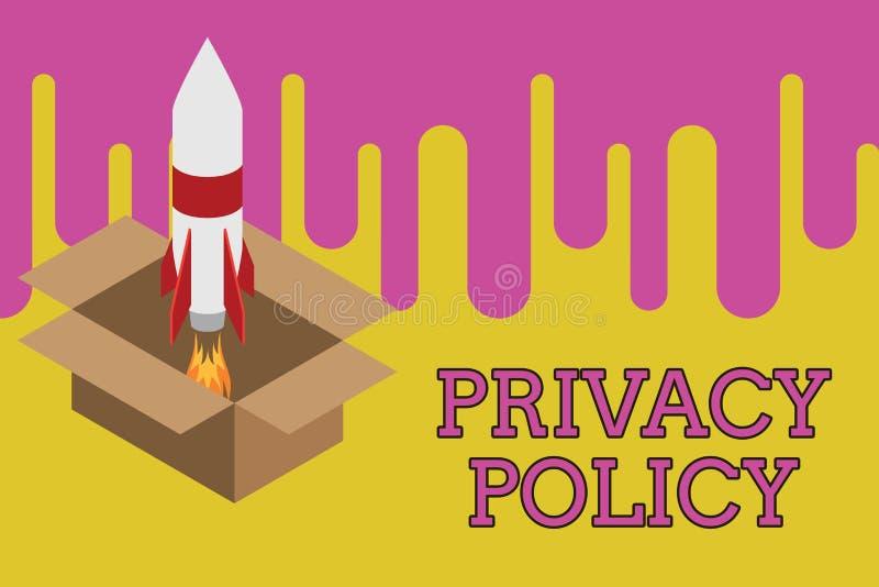 Het schrijven nota die Privacybeleid tonen Bedrijfsfoto demonstratiedocument dat verklaart hoe een organisatie behandelt royalty-vrije illustratie