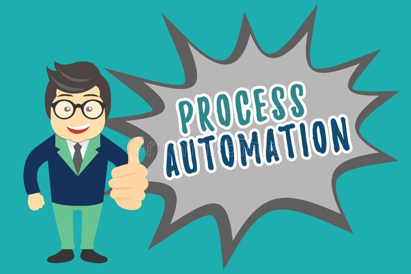 Het schrijven nota die Procesautomatisering tonen Bedrijfsfoto die Transformatie Gestroomlijnde Robotachtig demonstreren om te ve vector illustratie