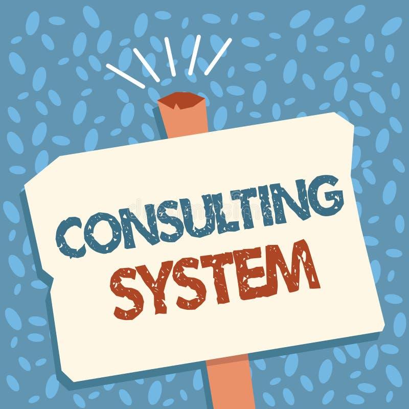 Het schrijven nota die het Raadplegen Systeem tonen Bedrijfsfoto die Helpend firma's procesgeschiktheid en functionaliteit verbet vector illustratie