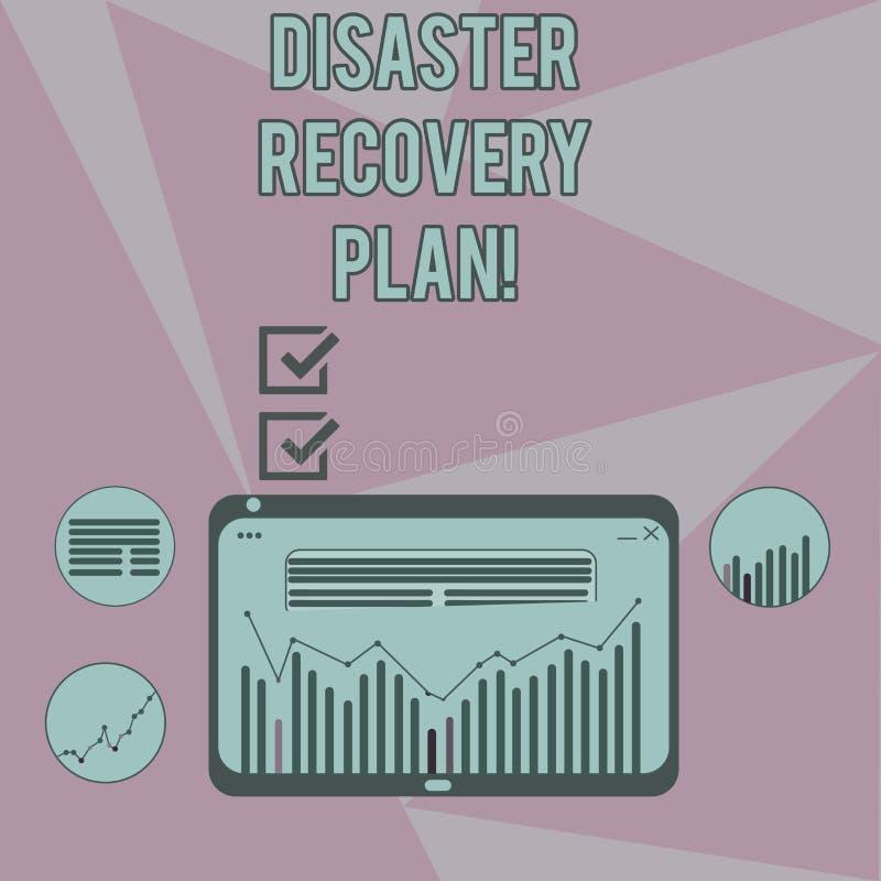 Het schrijven nota die RampenHerstelprogramma tonen Bedrijfsfoto demonstratieplan voor bedrijfsstabiliteit in het geval van ramp stock illustratie