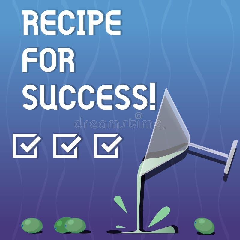 Het schrijven nota die Recept voor Succes tonen Bedrijfsfoto demonstratietrucs en gidsen om bepaalde doelstellingen Cocktail te b stock illustratie