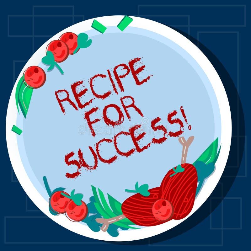 Het schrijven nota die Recept voor Succes tonen Bedrijfsfoto demonstratietrucs en gidsen om bepaalde doelstellingen Getrokken Han vector illustratie