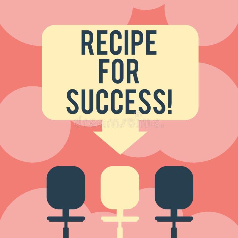 Het schrijven nota die Recept voor Succes tonen Bedrijfsfoto demonstratietrucs en gidsen om bepaalde doelstellingen Ruimtekleur t vector illustratie
