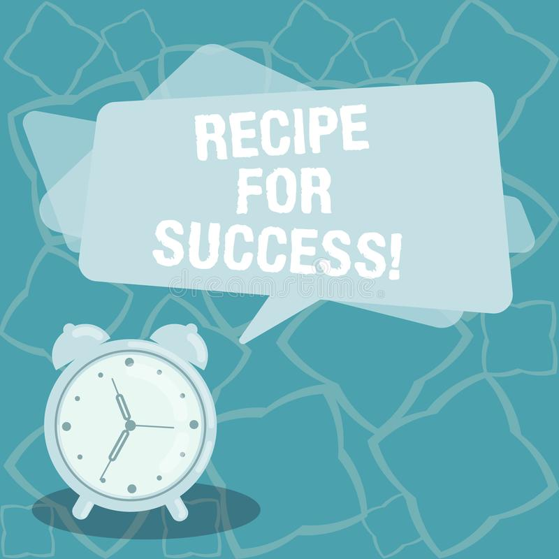 Het schrijven nota die Recept voor Succes tonen Bedrijfsfoto demonstratietrucs en gidsen om bepaalde doelstellingen Spatie te ber vector illustratie