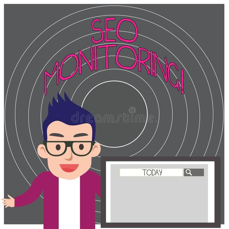 Het schrijven nota die Seo Monitoring tonen Bedrijfsfoto die het proces om het zicht van uw website demonstreren te optimaliseren royalty-vrije illustratie