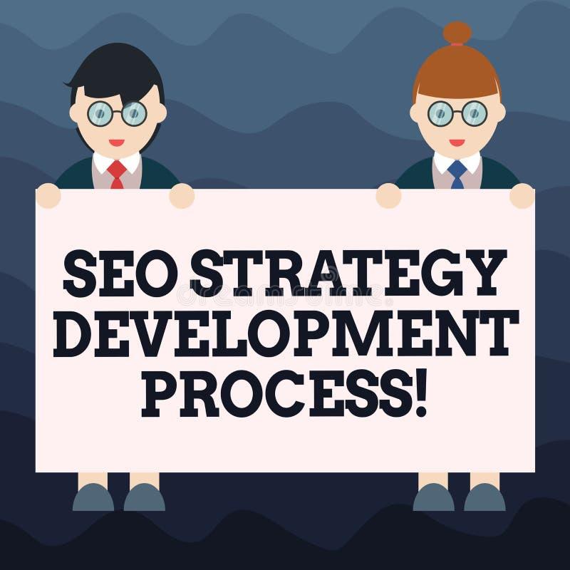 Het schrijven nota die Seo Strategy Development Process tonen De Optimalisering van de bedrijfsfoto demonstratiezoekmachine ontwi stock illustratie