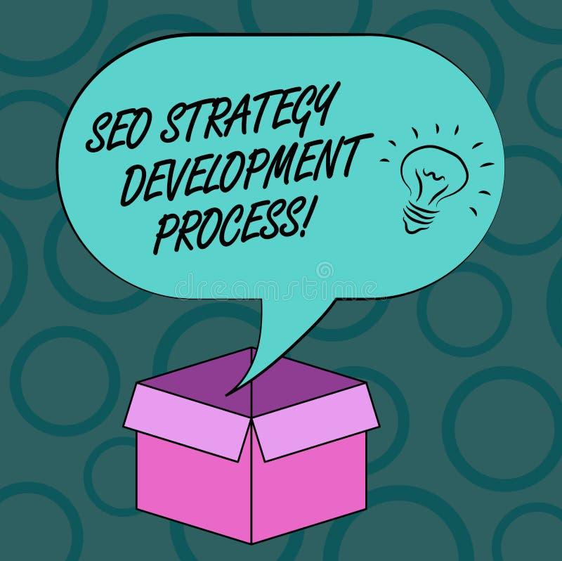 Het schrijven nota die Seo Strategy Development Process tonen De Optimalisering van de bedrijfsfoto demonstratiezoekmachine ontwi royalty-vrije illustratie