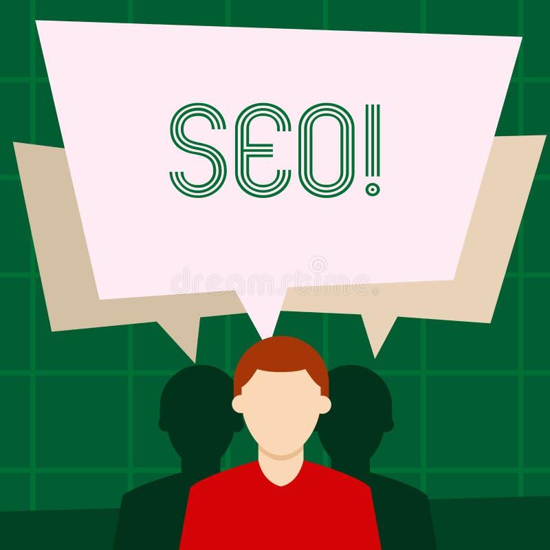 Het schrijven nota die Seo tonen De Optimalisering die van de bedrijfsfoto demonstratiezoekmachine Keywording op de markt brengen vector illustratie