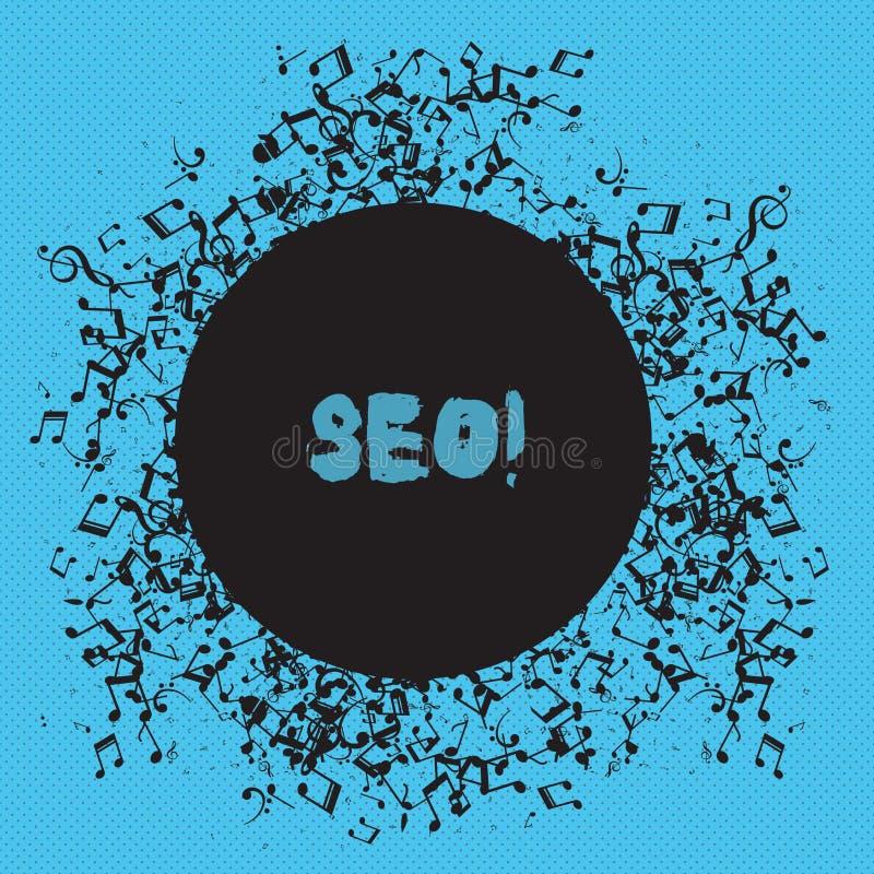 Het schrijven nota die Seo tonen De Optimalisering die van de bedrijfsfoto demonstratiezoekmachine Keywording op de markt brengen royalty-vrije illustratie