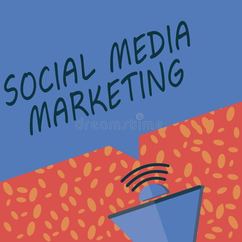 Het schrijven nota die Sociale Media Marketing tonen Bedrijfsfoto demonstratiegebruik van Website en Netwerk om de Productdienst  stock illustratie