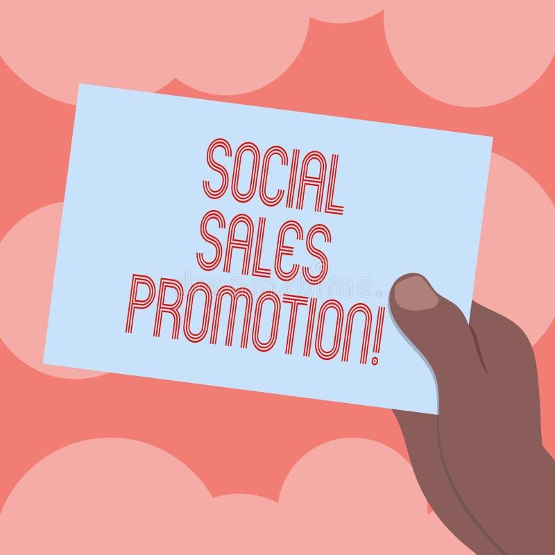 Het schrijven nota die Sociale Verkoopbevordering tonen De bedrijfsfoto demonstratie verstrekt toegevoegde waarde of aansporingen royalty-vrije illustratie