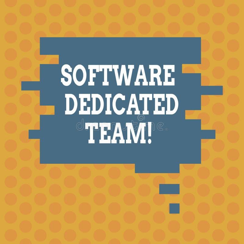 Het schrijven nota die Software Specifiek Team tonen Bedrijfsfoto demonstratie bedrijfsbenadering van app en Webontwikkeling stock illustratie