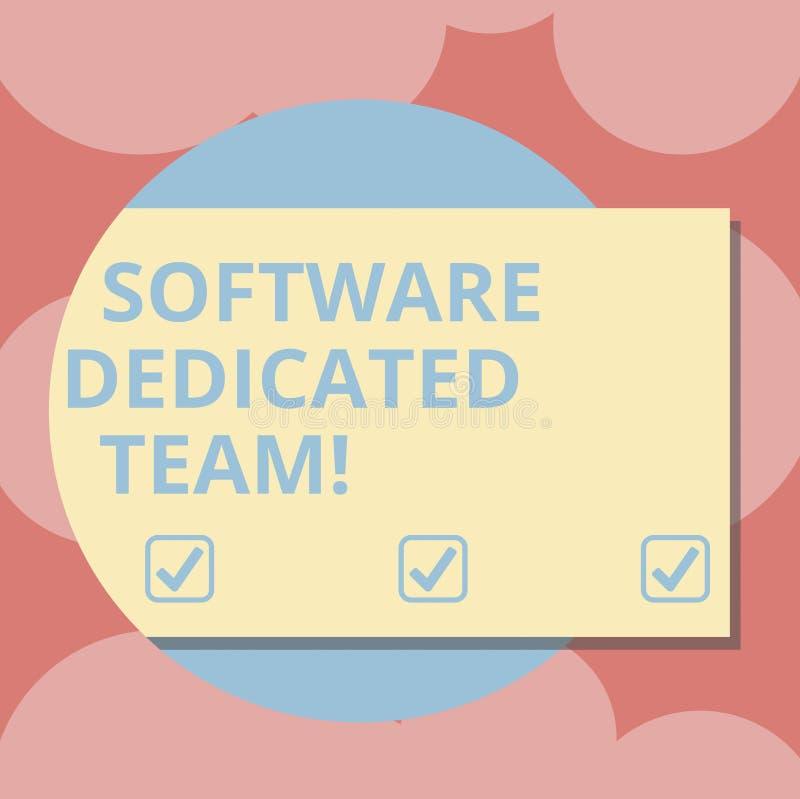 Het schrijven nota die Software Specifiek Team tonen Bedrijfsfoto demonstratie bedrijfsbenadering van app en Webontwikkeling royalty-vrije illustratie