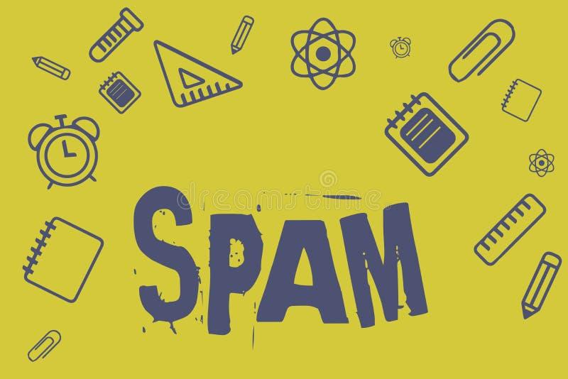 Het schrijven nota die Spam tonen Bedrijfsfoto die Opdringerige reclame Ongepaste die berichten demonstreren op Internet worden v royalty-vrije illustratie