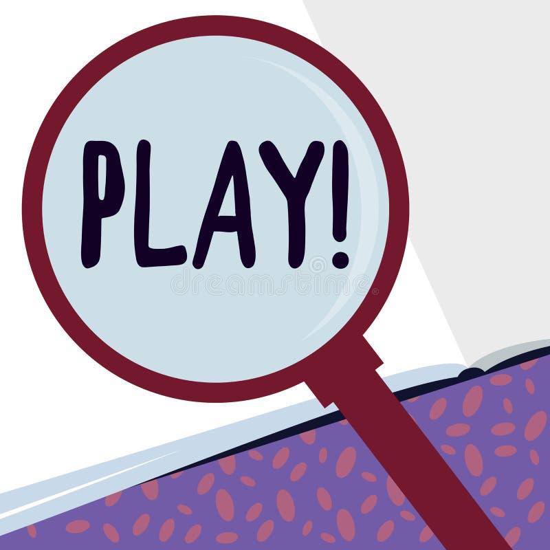 Het schrijven nota die Spel tonen De bedrijfsfoto demonstratie neemt in activiteit voor plezier en recreatie in dienst die pretvr vector illustratie
