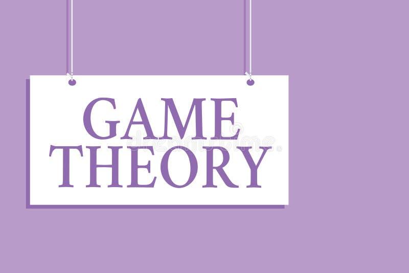 Het schrijven nota die Speltheorie tonen Bedrijfsfoto demonstratietak van wiskunde betreffende analyse van strategieën die BO han stock illustratie