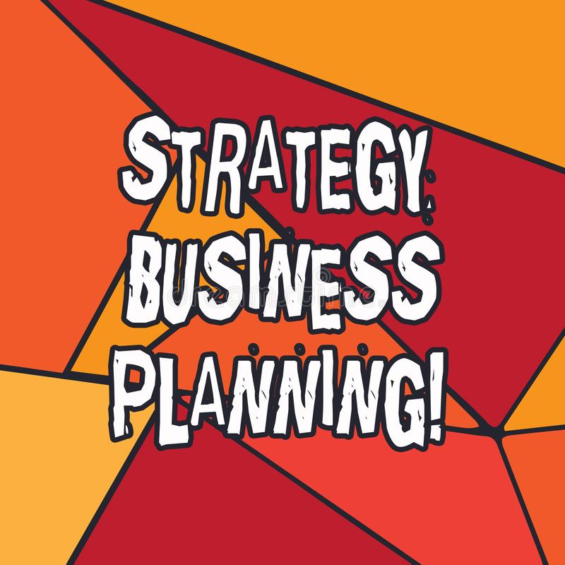 Het schrijven nota die Strategie Bedrijfs Planning tonen De bedrijfsfoto demonstratie schetst een organisatie s algemeen is royalty-vrije illustratie