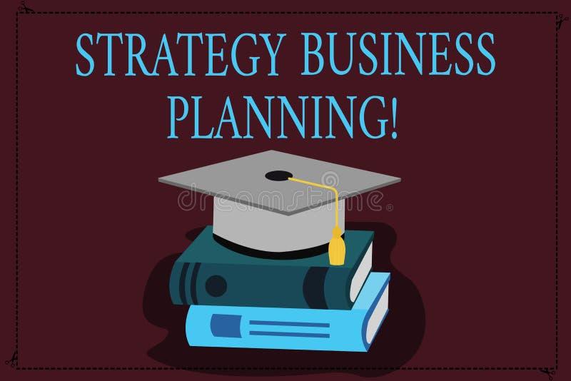 Het schrijven nota die Strategie Bedrijfs Planning tonen De bedrijfsfoto demonstratie schetst een organisatie s algemeen is vector illustratie