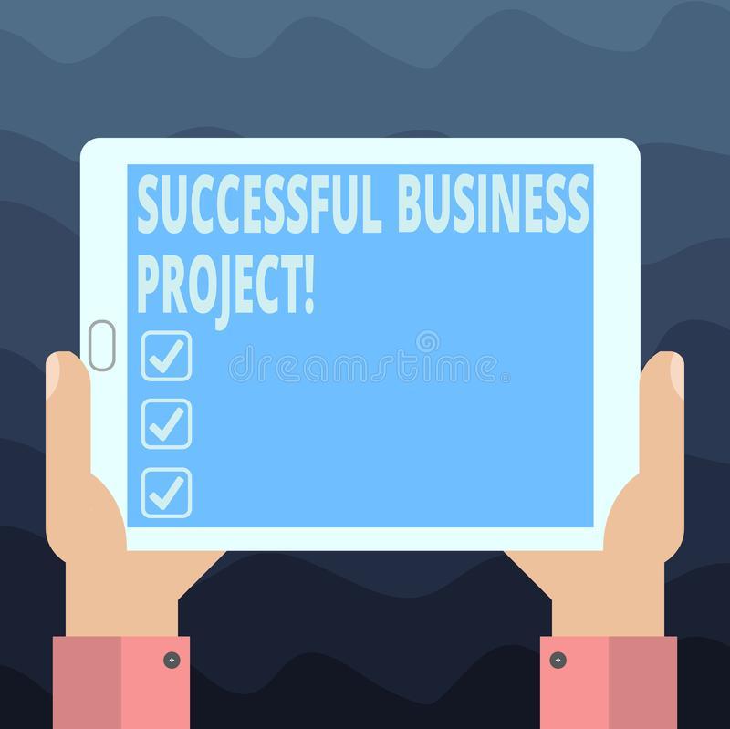 Het schrijven nota die Succesvol Zakelijk project tonen Bedrijfsfoto demonstratie het Bereiken projectdoelstellingen binnen progr royalty-vrije illustratie