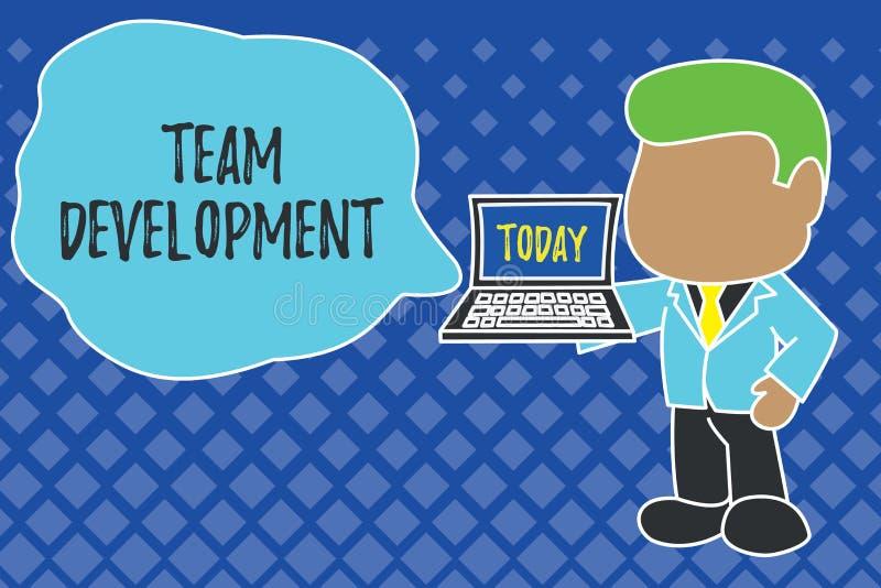Het schrijven nota die Team Development tonen De bedrijfsfoto demonstratie leert waarom en hoe de kleine groepen na verloop van t vector illustratie