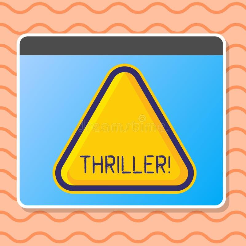 Het schrijven nota die Thriller tonen Bedrijfsfoto demonstratie het Koelen angstaanjagende ogenblikken in het levensfilm en filmc stock illustratie