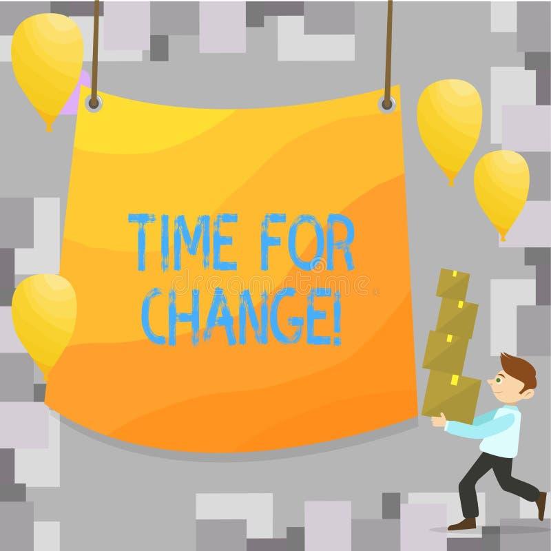 Het schrijven nota die Tijd voor Verandering tonen Kans van het de Evolutie Nieuwe Begin van het bedrijfsfoto demonstratie de Ver royalty-vrije illustratie