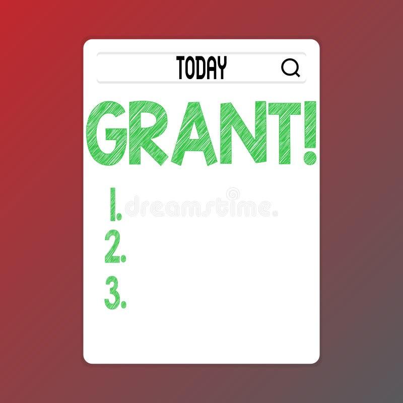 Het schrijven nota die Toelage tonen Bedrijfsfoto demonstratiegeld dat door een organisatie of een overheid voor een doel wordt g stock illustratie