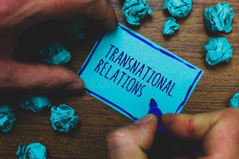 Het schrijven nota die Transnationale Relaties tonen Bedrijfsfoto die de Internationale Globale Mistige Diplomatie demonstreren v royalty-vrije stock afbeeldingen