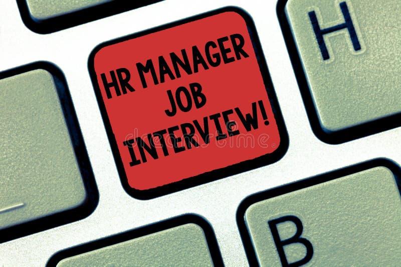 Het schrijven nota die U-Manager Job Interview tonen Huanalysismiddelen die van de bedrijfsfoto demonstratierekrutering zoeken na royalty-vrije stock fotografie