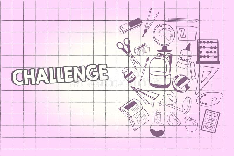 Het schrijven nota die Uitdaging tonen De bedrijfsfoto demonstratievraag aan iemand om aan concurrerende situatie deel te nemen s stock illustratie