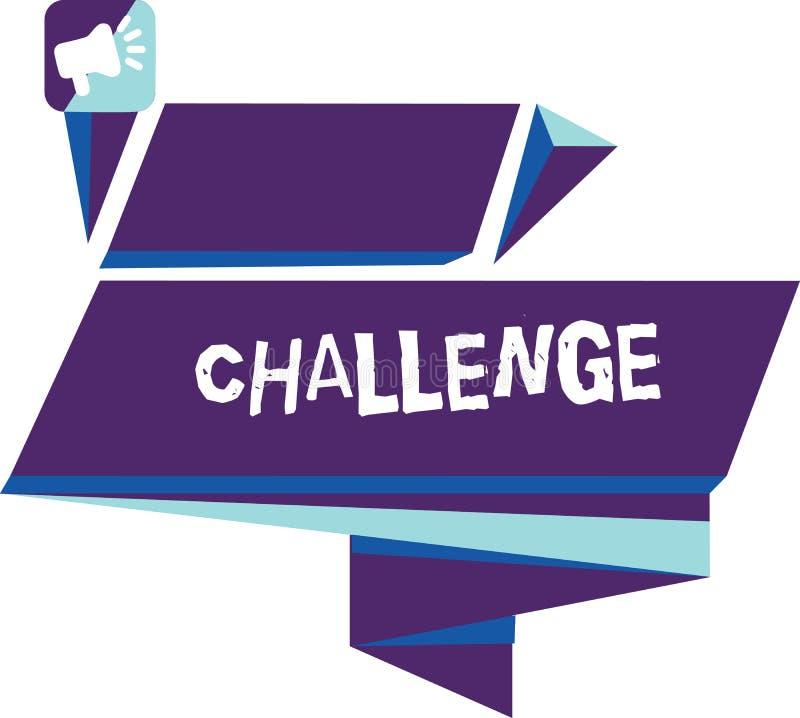 Het schrijven nota die Uitdaging tonen De bedrijfsfoto demonstratievraag aan iemand om aan concurrerende situatie deel te nemen s royalty-vrije illustratie